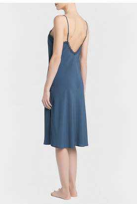 La Perla Bella Cornflower Blue Viscose Short Nightgown With Tulle