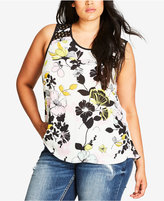 City Chic Trendy Plus Size Printed Lace-Trim Top
