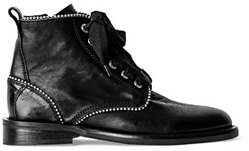 Zadig & Voltaire Women's Laureen Roma Stud Piping Leather Ankle Boots