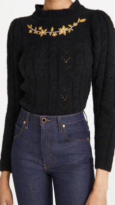 Batsheva Embroidered Alpaca Knit Pullover