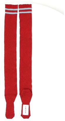 Alberta Ferretti Metallic Sheen Logo Tag Socks