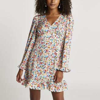 River Island Womens Blue floral print long sleeve mini dress