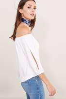 Dynamite Off-The-Shoulder Knit Top with Sleeve Slits