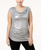 Calvin Klein Plus Size Asymmetrical Metallic Top