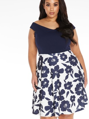 Quiz Curve Two In One Skater Dress - Navy/Cream