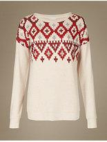 M&S Collection Fairisle Print Long Sleeve Pyjama Top
