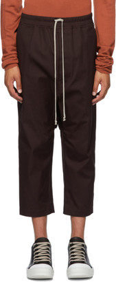 Rick Owens Burgundy Drawstring Cropped Trousers