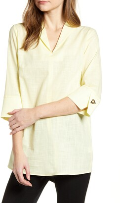 Ming Wang Toggle Cuff Cotton Shirt