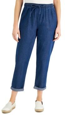 Karen Scott Cotton Cuffed Pull-On Denim Capri Pants, Created for Macy's