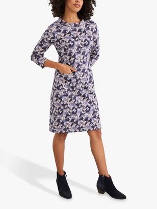 White Stuff Jada Organic Cotton Floral and Spot Print Jersey Dress, Grey/Multi