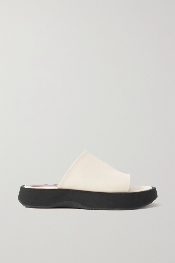 Thumbnail for your product : STAUD Alpine Leather Platform Slides