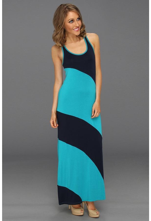 Michael Stars Stella Color Block Modal Jersey Maxi Dress (Night Sky/Cove) - Apparel
