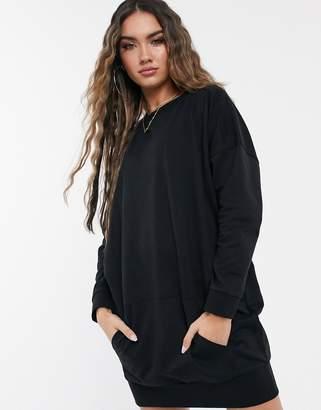 Asos Design DESIGN sweat dress with front pocket in black