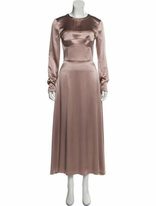 Brandon Maxwell Silk Maxi Dress Mauve