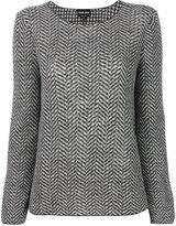 Giorgio Armani herringbone-effect printed sweater - women - Virgin Wool - 44