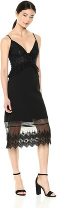 French Connection Women's Delos Lucky Layer Lace and Sheer Dress