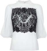 Dolce & Gabbana contrast lace print blouse