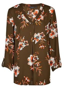 Dorothy Perkins Womens Tall Khaki Floral Print Shirt, Khaki