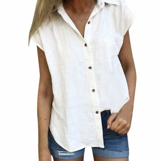 Bovake Blouse Women Solid Color Button Blouse Summer Casual Short Sleeve Loose Baggy Simple Basic Linen Top Clothes for Lady by Bovake (L
