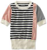 L.L. Bean Signature Cashmere Sweater, Short-Sleeve Stripe