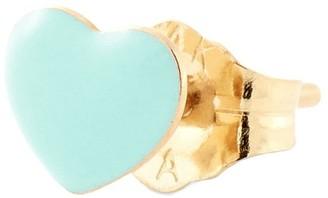 Alison Lou 14kt Yellow Gold Mint Green Enamel Heart Stud