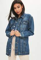 Missguided Blue Studded Longline Denim Jacket