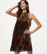 LOFT Floral Velvet Swing Dress