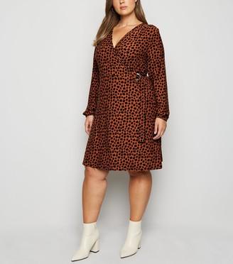 New Look Blue Vanilla Curves Leopard Print Wrap Dress
