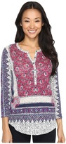 Lucky Brand Border Floral Henley Women's Clothing