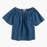 J.Crew Girls' chambray two-way ruched top