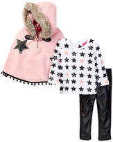 Betsey Johnson Star Print Tee, Faux Fur Trimmed Cape & Pleather Legging Set (Little Girls)
