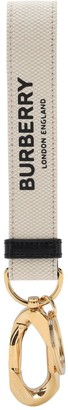 Burberry Wristlet Logo Print Canvas Key Holder