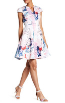 Julia Jordan Printed Cap Sleeve V-Neck Dress