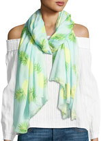 Neiman Marcus Scattered Pineapple-Print Scarf, Turquoise