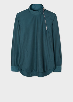 Paul Smith Men's Teal Smock Shirt With Neck Zip Detail