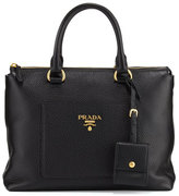 Prada Daino Zip Pebbled Leather Tote Bag