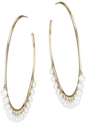 Sydney Evan 14K Yellow Gold & 4MM White Pearl Large Hoop Earrings
