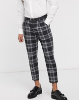 Shelby & Sons tapered fit cropped smart trouser with single pleat and chain in black heritage check