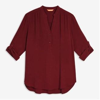 Joe Fresh Women's Button-Tab Shirt, Dark Red (Size S)