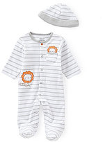 Little Me Baby Boys Newborn-9 Months Little Lion Footed Coverall & Hat Set