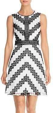 Karl Lagerfeld Paris Sleeveless Chevron Lace Dress