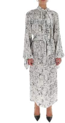 Off-White Off White Graphite Neck Tie Maxi Dress