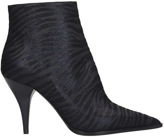 Casadei High Heels Ankle Boots In Black Fabric