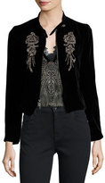 Nanette Lepore Embellished Structured Velvet Jacket, Black
