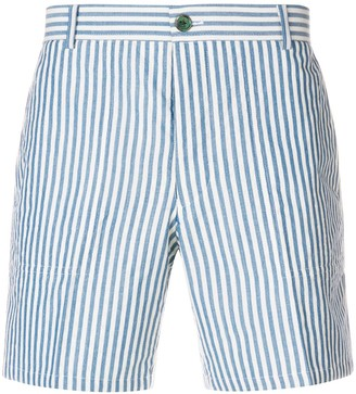 Thom Browne Striped Cuban Detail Wool Patch Shorts