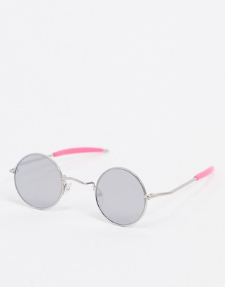 Spitfire Chemistry round sunglasses in silver with pink arm detail