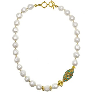 Farra Freshwater Pearls With Rhinestone Bordered Turquoise Choker