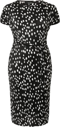 Evans Black Spot Pleated Dress