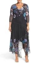 Komarov Plus Size Women's Floral Chiffon & Charmeuse A-Line Dress