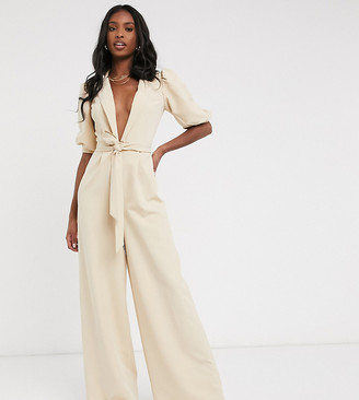 Asos Tall ASOS DESIGN tall puff-sleeved jumpsuit with self belt
